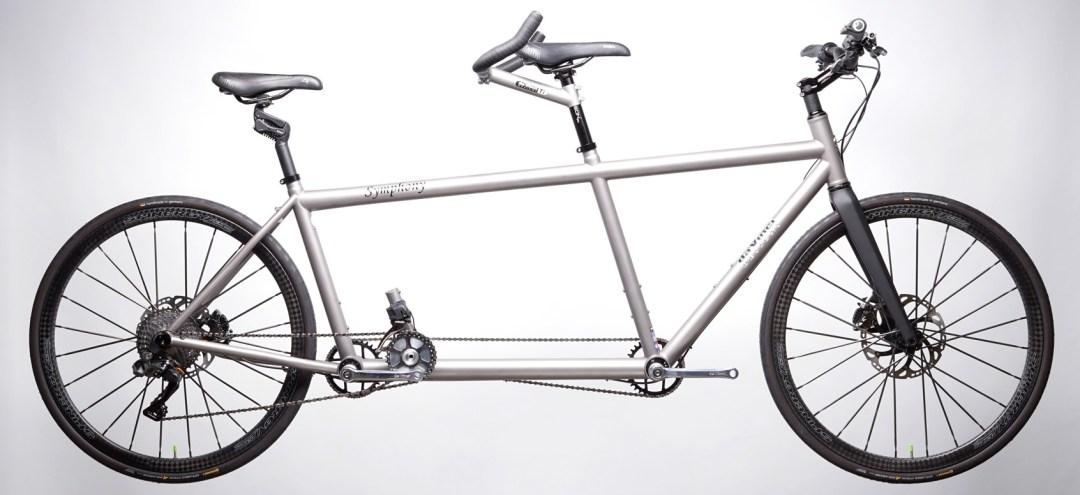 Titanium Symphony Mountain Hybrid Tandem Bicycle.