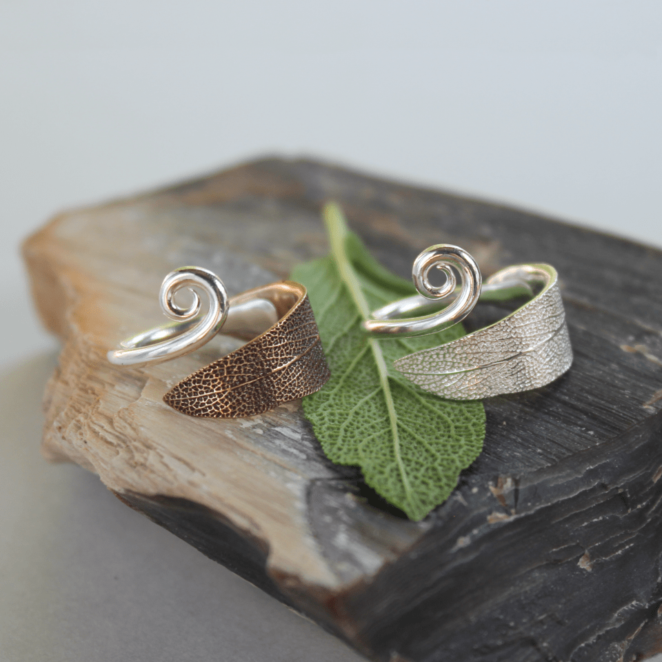 DaVine Jewelry, Sage Leaf with Spiral Rings