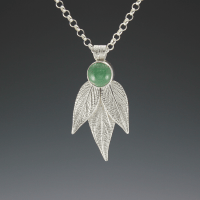 DaVine Jewelry, Pineapple Sage Leaves and Green Aventurine Pendant Sterling Silver
