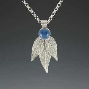 DaVine Jewelry, Pineapple Sage Leaves and Blue Onyx Pendant Sterling Silver