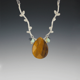 DaVine Jewelry, Sterling Silver Branches with Tiger Eye Briolette Necklace