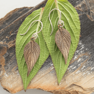 DaVine Jewelry, Bronze Pineapple Sage Leaf Dangle Earrings