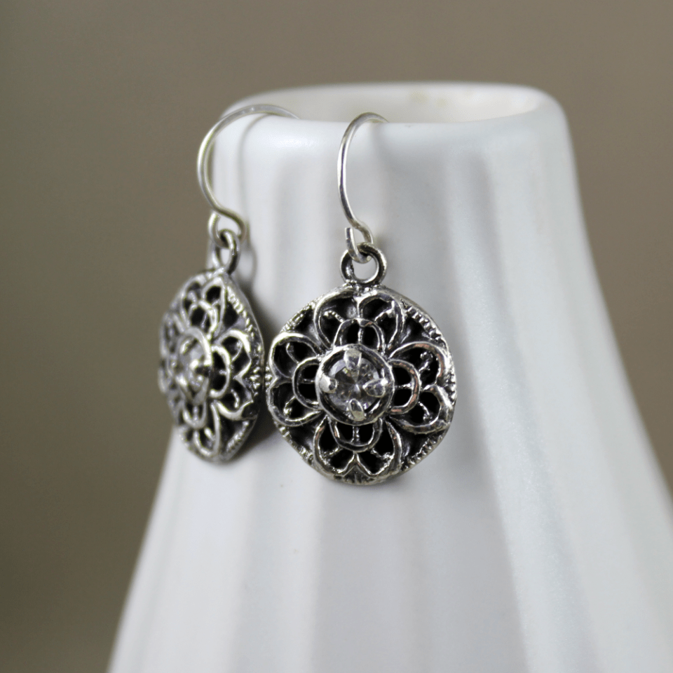 DaVine Jewelry, Silver Filigree Vintage Button Dangle Earrings with Crystal Cubic Zirconia Stone