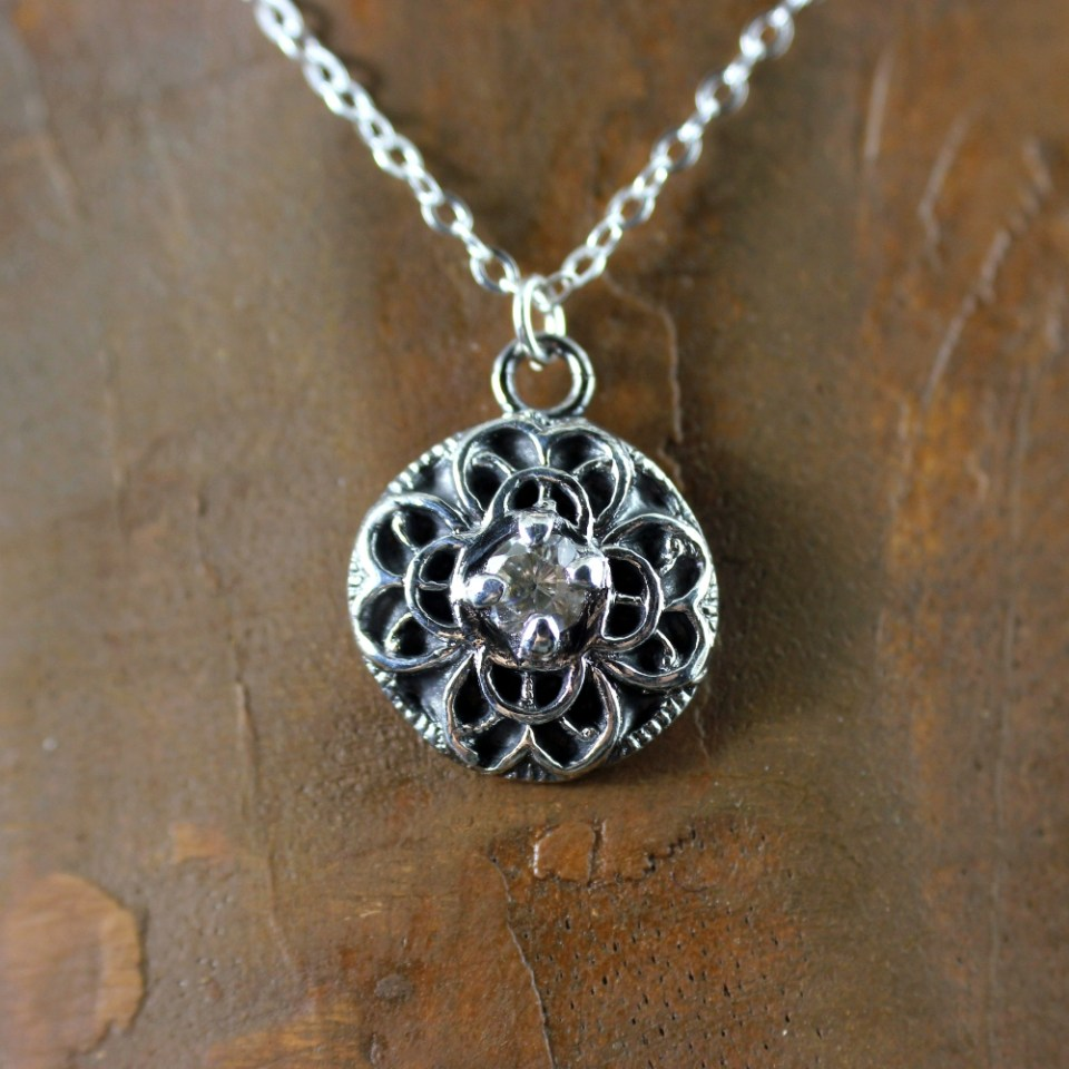DaVine Jewelry, Silver Filigree Vintage Button Pendant with Crystal Cubic Zirconia Stone