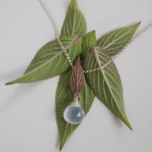 DaVine Jewelry, Pineapple Sage Leaf and Blue Chalcedony Pendant