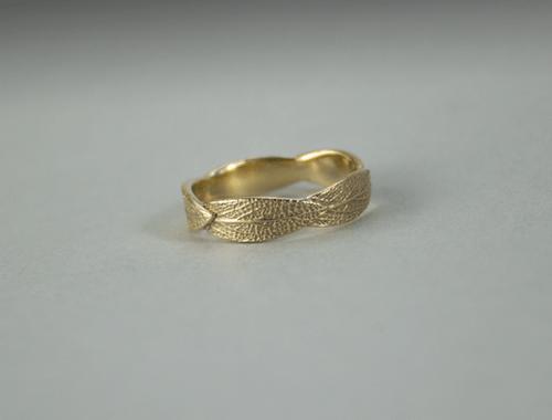 DaVine Jewelry, 14 Karat Gold Custom Sage Leaf Wedding Band
