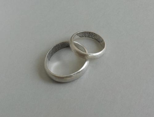 DaVine Jewelry, Silver Fingerprint Wedding Bands