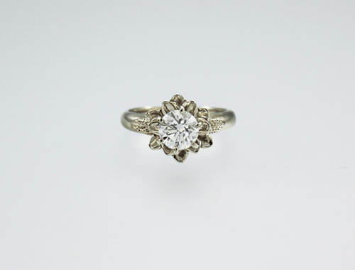DaVine Jewelry, White Gold & Diamond Flower Engagement Ring