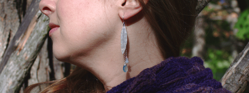 DaVine Jewelry, Sterling Silver Sage Leaf and Aqua Chalcedony Dangle Earrings