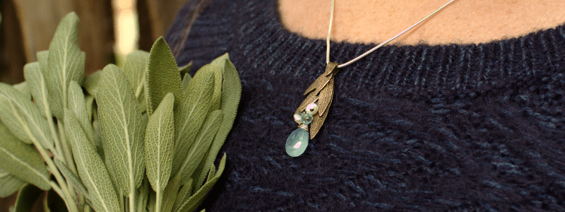 DaVine Jewelry, Sage Leaf Necklace in Bronze with Aqua Chalcedony