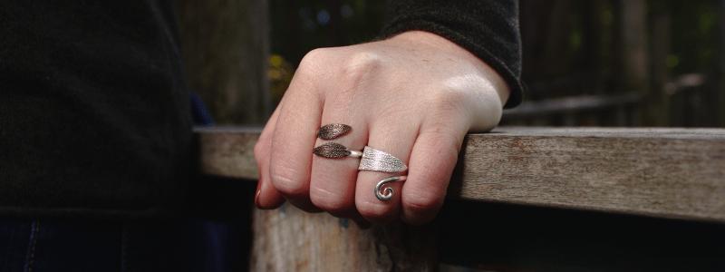 DaVine Jewelry, Sterling Silver Bronze Sage Leaf Rings