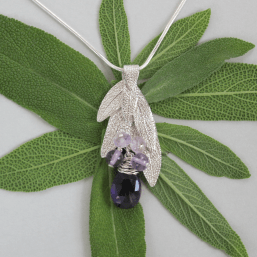 DaVine Jewelry, Sterling Silver Sage Leaf Bouquet and Amethyst Pendant Necklace