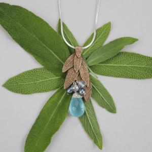 DaVine Jewelry, Sage Leaf Bouquet Pendant Bronze with Blue Chalcedony
