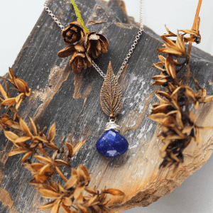 DaVine Jewelry, Bronze Sage Leaf and Lapis Lazuli Pendant Necklace