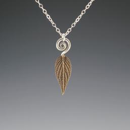DaVine Jewelry, Bronze Pineapple Sage Leaf and Spiral Pendant Necklace