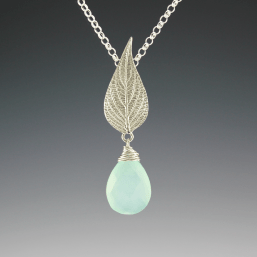 DaVine Jewelry, Sterling Silver Pineapple Sage Leaf and Labradorite Briolette Pendant Necklace