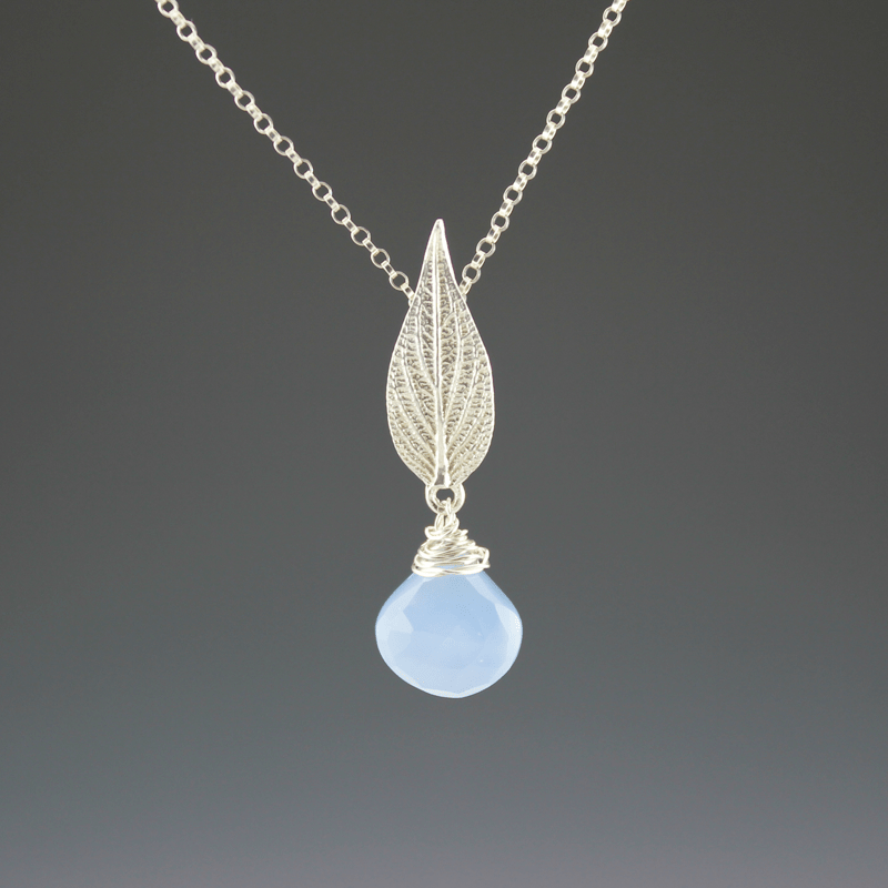 DaVine Jewelry, Sterling Silver Pineapple Sage Leaf Necklace with Blue Chalcedony Stone