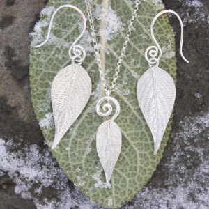 DaVine Jewelry, Pineapple Sage Leaf Earrings and Necklace in Sterling Silver