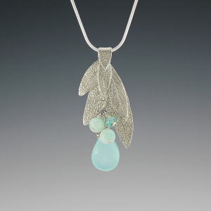 DaVine Jewelry, Sterling Silver Sage Leaf Bouquet with Green Chalcedony Pendant