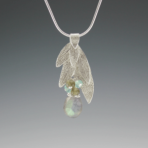DaVine Jewelry, Sterling Silver Sage Leaf Bouquet and Labradorite Pendant Necklace