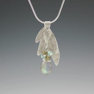 DaVine Jewelry, Sterling Silver Sage Leaf Bouquet and Labradorite Pendant Necklace