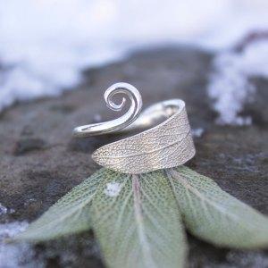DaVine Jewelry, Sterling Silver Sage Leaf Spiral Ring Adjustable