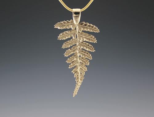 DaVine Jewelry, Gold Fern Frond Pendant