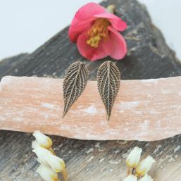 DaVine Jewelry, Bronze Pineapple Sage Leaf Stud Earrings