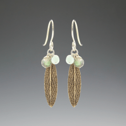 DaVine Jewelry, Bronze Sage Leaf and Labradorite Dangle Earrings