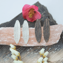 DaVine Jewelry, Large Silver and Bronze Garden Sage Leaf Stud Earrings