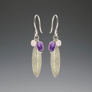 DaVine Jewelry, Silver Sage Leaf and Amethyst Dangle Earrings