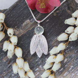 DaVine Jewelry, Prehnite Stone and Silver Sage Leaves Pendant