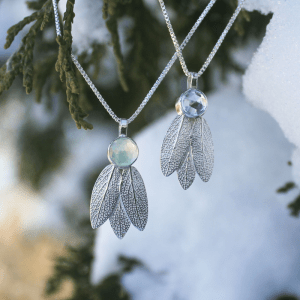 DaVine Jewelry, Sterling Silver Sage Leaves Pendants with Prehnite and Aquamarine