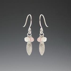 DaVine Jewelry, Silver Sage Leaf and Gemstone Dangle Earrings
