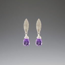 DaVine Jewelry, Sage Leaf and Amethyst Silver Stud Earrings