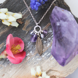 DaVine Jewelry, Delicate Bronze Sage Leaf and Amethyst Necklace