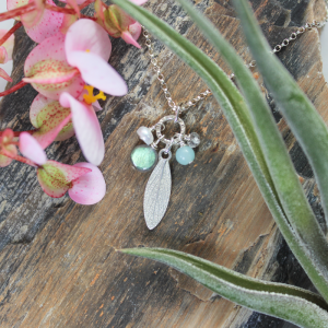 DaVine Jewelry, Sterling Silver and Labradorite Sage Leaf Charm Pendant