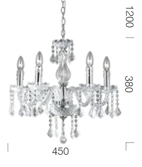 Dijon 5 light pendant, Dijon 5 Light Chandelier, Cristal