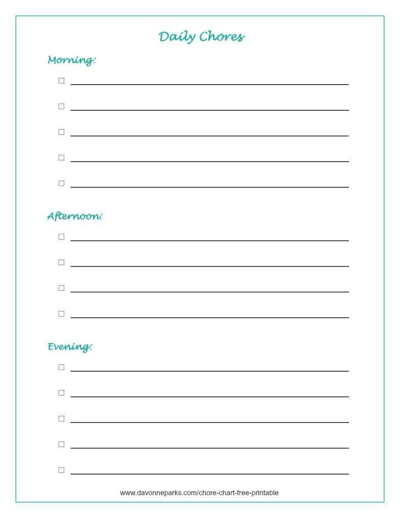 image about Chores List Printable named Why I Hated Chore Charts, Furthermore a Totally free Printable - Davonne Parks