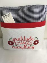 Gratitude pillow by Gail Grady, with complimentary gratitude list