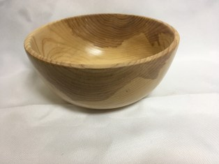 Hand-turned ash bowl by Russ Clinard