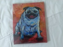 Blue pug print by Maria Reyes-Jones