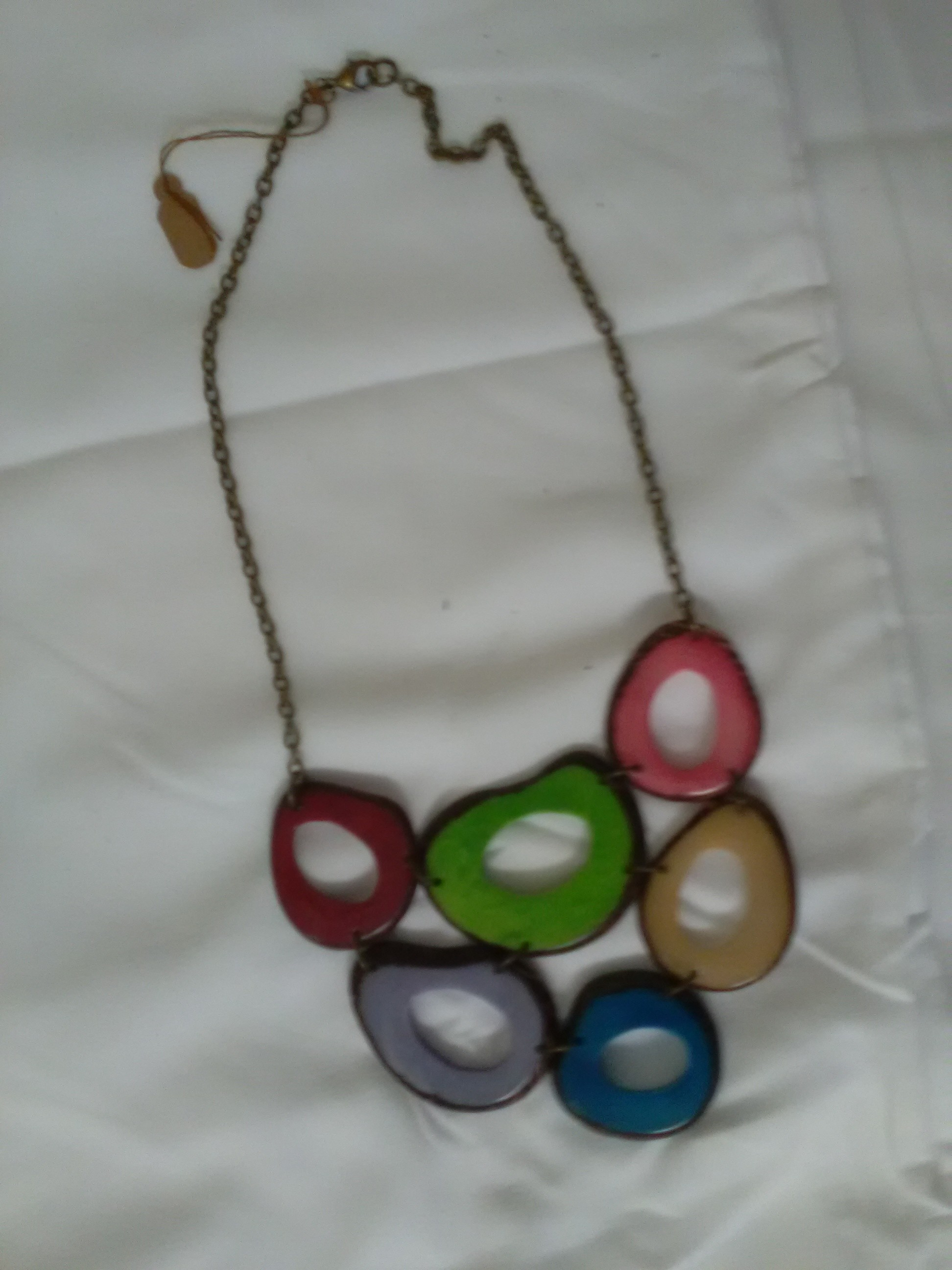 Rainbow circular pendant necklace by Jane & Michael Lewis