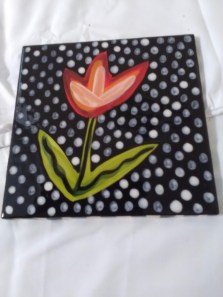 Flower tile with polka dots by Toni & Jay Mann