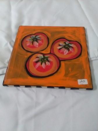Orange tomato tiles by Toni & Jay Mann