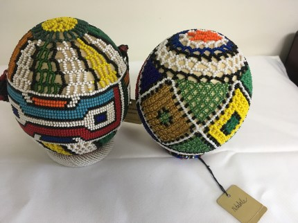Set of two Ndebele hand-beaded ostrich eggs