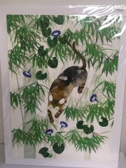 Cat in bamboo painting by Pui Li Cockman