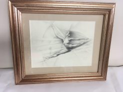 """""""Leap"""" graphite framed drawing by Claudia Selene"""
