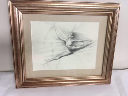 """Leap"" graphite framed drawing by Claudia Selene"