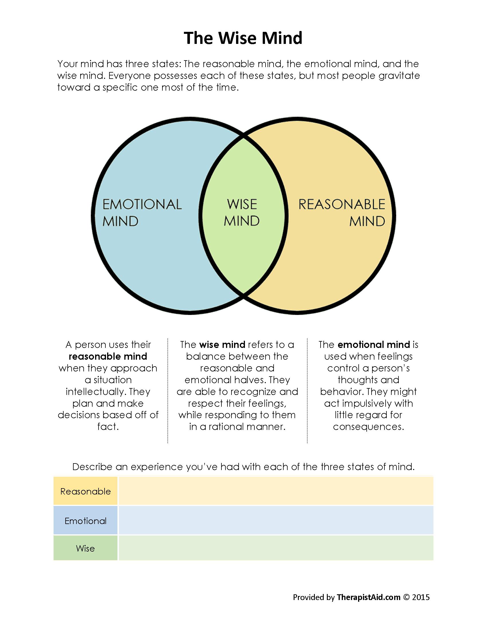 Wise Mind Worksheet Examples